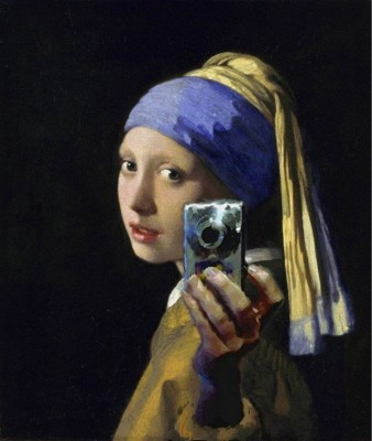 """Girl With A Pearl Earring Selfie"" pilfered from Bruce Sterling's' Atemporality Flickr Feed"