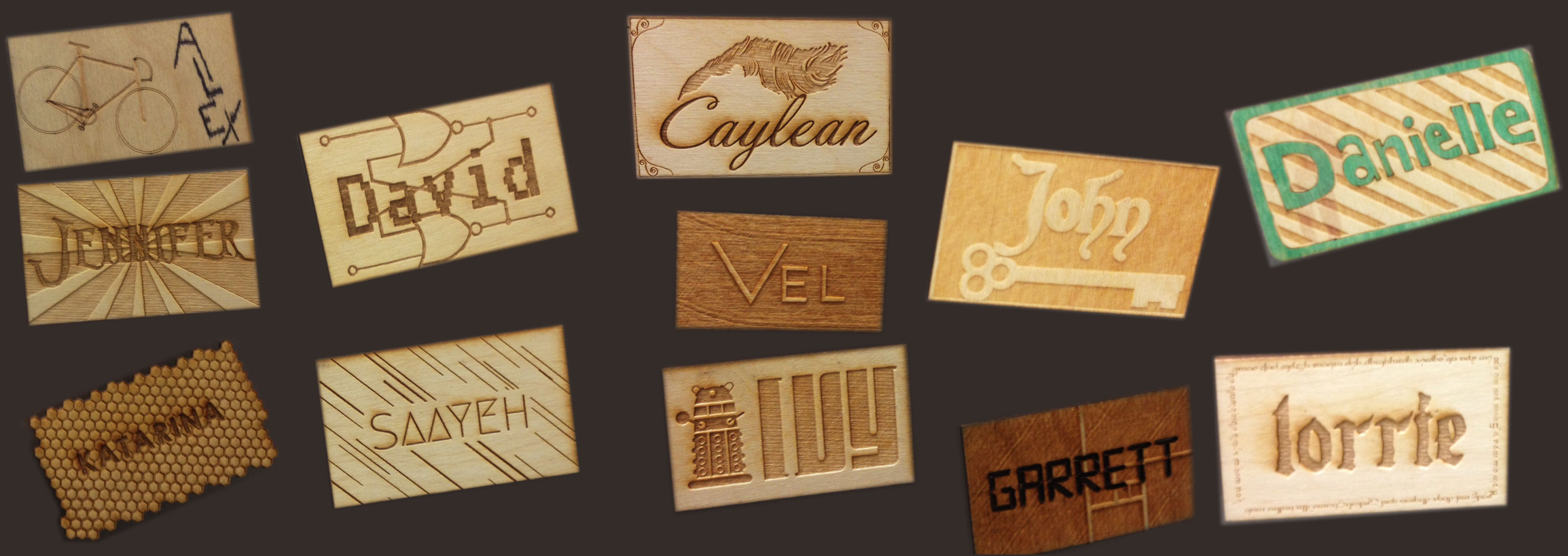 Wood Laser Cutting & Engraving Name Tags