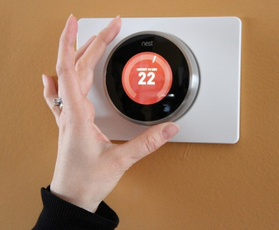 Nest Labs learning thermostat in action.
