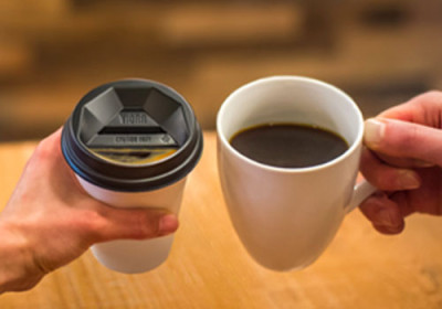 The Viora Lid mimics the experience of drinking from a ceramic mug.