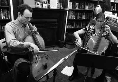 Cellists Terry Cook and Chris Worswick. Photo by Shaya Lyon.